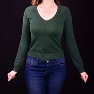 Forest Green V-Neck Sweater by Zara